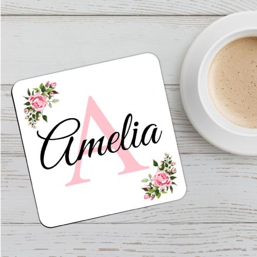 Personalised Initial Alphabet~ Happy Birthday Drinks Coaster N57 Any Name
